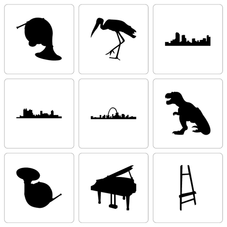 Set Of 9 simple editable icons such as painter easel, grand piano, french horn, t rex, st louis, fort worth, denver, stork, can be used for mobile, web Illustration