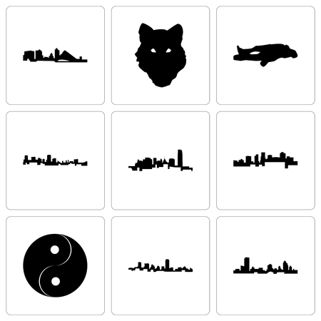 Set Of 9 simple editable icons such as wisconsin, maryland, yin yang, arkansas, oklahoma, chalk, wolf face, can be used for mobile, web