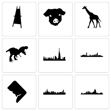 Set Of 9 simple editable icons such as cincinnati, chicago, dc, boston, dubai, t rex, giraffe, pig face, painter easel, can be used for mobile, web