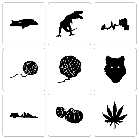 Set Of 9 simple editable icons such as marijuana leaf, pumpkin, wisconsin, wolf face, yarn ball, ohio, t rex, chalk, can be used for mobile, web