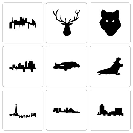 Set Of 9 simple editable icons such as montana, wisconsin, paris, hippo, chalk, arkansas, wolf face, elk head, pennsylvania state, can be used for mobile, web
