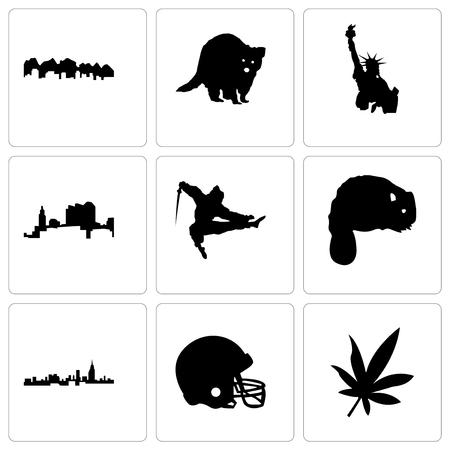 Set Of 9 simple editable icons such as marijuana leaf, football helmet, alabama, beaver, ninja, ohio, statue of liberty, raccoon, utah, can be used for mobile, web Illustration