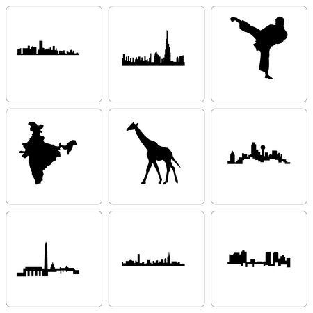 Set Of 9 simple editable icons such as fort worth, boston, dc, dallas, giraffe, india map, karate kick, dubai, florida, can be used for mobile, web Foto de archivo - 102073966