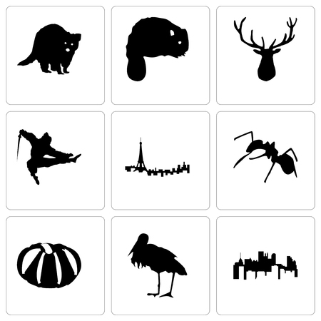 Set Of 9 simple editable icons such as pennsylvania state, stork, pumpkin, ant, paris, ninja, elk head, beaver, raccoon, can be used for mobile, web