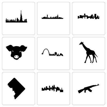 Set Of 9 simple editable icons such as ak47, minnesota, dc, giraffe, st louis, pig face, denver, boston, dubai, can be used for mobile, web