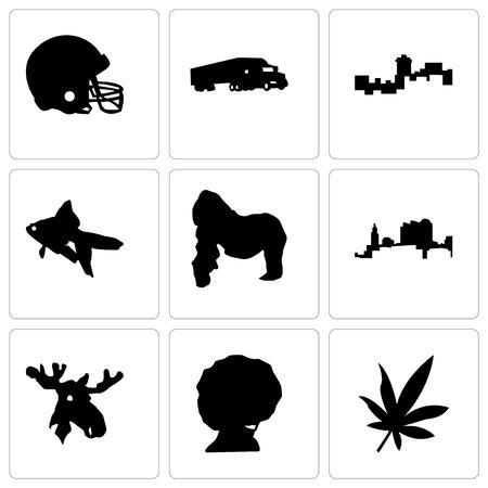 Set Of 9 simple editable icons such as marijuana leaf, afro, moose head, ohio, gorilla, goldfish, montana, semi truck, football helmet, can be used for mobile, web Illustration