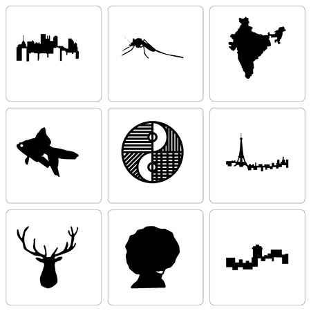 Set Of 9 simple editable icons such as montana, afro, elk head, paris, yin yang, goldfish, india, mosquito, pennsylvania state, can be used for mobile, web