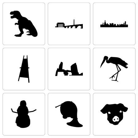 Set Of 9 simple editable icons such as pig face, french horn, snowman, stork, long island, painter easel, chicago, dc, t rex, can be used for mobile, web