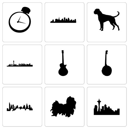 Set Of 9 simple editable icons such as seattle, shih tzu, charlotte, banjo, image les paul, las vegas, boxer dog, st pocket watch, can be used for mobile, web