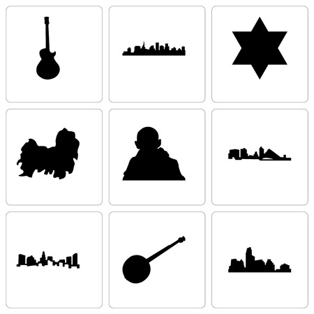Set Of 9 simple editable icons such as austin, banjo, charlotte, wisconsin, gandhi, shih tzu, star of david, st paul, image les can be used for mobile, web
