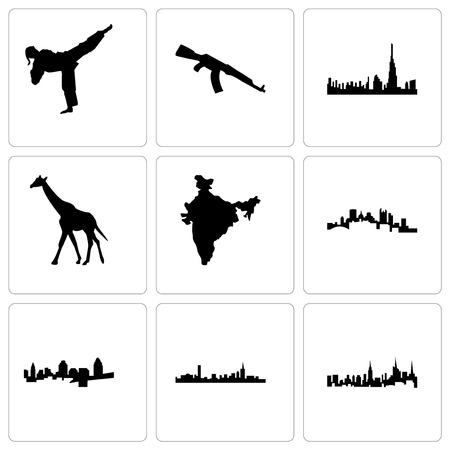 Set Of 9 simple editable icons such as nyc, boston, cincinnati, pittsburgh, india map, giraffe, dubai, ak47, karate kick, can be used for mobile, web Vettoriali