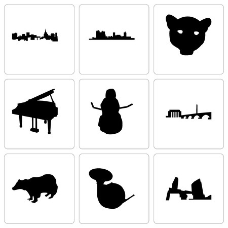 Set Of 9 simple editable icons such as long island, french horn, badger, dc, snowman, grand piano, jaguar face, fort worth, st paul, can be used for mobile, web Illustration