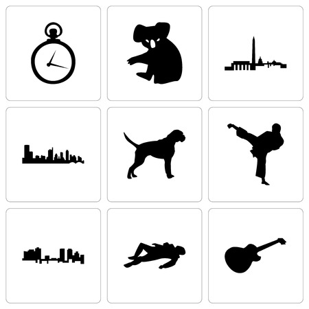 Set Of 9 simple editable icons such as image les paul, crime scene body, fort worth, karate kick, boxer dog, austin, dc, koala, pocket watch, can be used for mobile, web