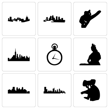 Set Of 9 simple editable icons such as koala, austin, minneapolis, lord shiva, pocket watch, nyc, florida, pittsburgh, can be used for mobile, web