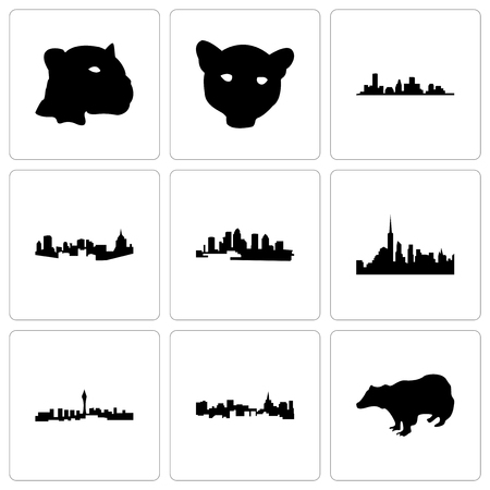 Set Of 9 simple editable icons such as badger, st paul, las vegas, nyc, florida, pittsburgh, houston, jaguar face, can be used for mobile, web