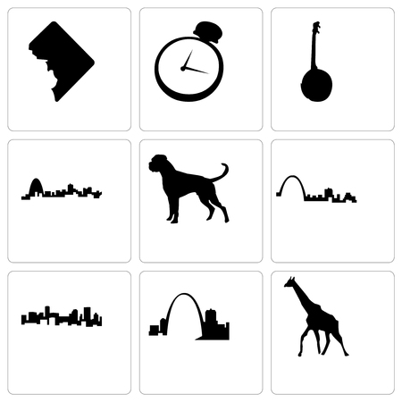 Set Of 9 simple editable icons such as giraffe, missouri, denver, st louis, boxer dog, banjo, pocket watch, dc, can be used for mobile, web