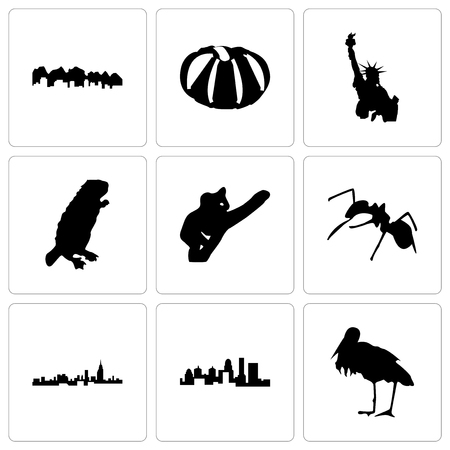 Set Of 9 simple editable icons such as stork, kentucky state, alabama, ant, koala, beaver, statue of liberty, pumpkin, utah, can be used for mobile, web  イラスト・ベクター素材