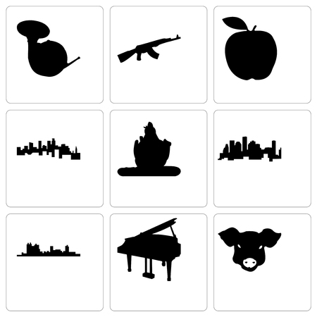 Set Of 9 simple editable icons such as pig face, grand piano, fort worth, houston, lord shiva, minnesota, apple, ak47, french horn, can be used for mobile, web Foto de archivo - 102288584