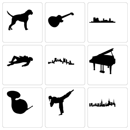 Set Of 9 simple editable icons such as nyc, karate kick, french horn, grand piano, pittsburgh, crime scene body, fort worth, image les paul, boxer dog, can be used for mobile, web