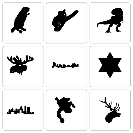 Set Of 9 simple editable icons such as elk head, chalk, kentucky state, star of david, jamaica, moose t rex, koala, beaver, can be used for mobile, web