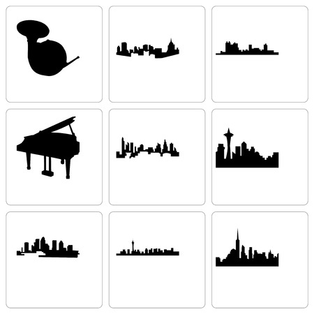 Set Of 9 simple editable icons such as nyc, las vegas, florida, seattle, charlotte, grand piano, fort worth, pittsburgh, french horn, can be used for mobile, web