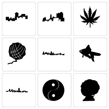Set Of 9 simple editable icons such as afro, yin yang, maryland, goldfish, yarn ball, marijuana leaf, ohio, montana, can be used for mobile, web Illustration