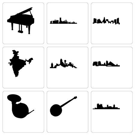 Set Of 9 simple editable icons such as fort worth, banjo, french horn, wisconsin, dallas, india map, charlotte, florida, grand piano, can be used for mobile, web Foto de archivo - 103182991