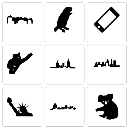 Set Of 9 simple editable icons such as koala, missouri, statue of liberty, kentucky state, alabama, cell phone, beaver, utah, can be used for mobile, web