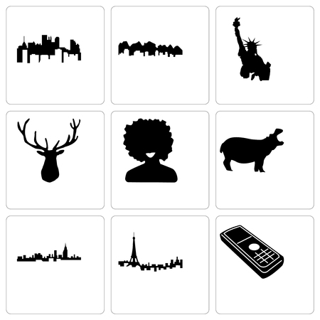 Set Of 9 simple editable icons such as cell phone, paris, alabama, hippo, afro, elk head, statue of liberty, utah, pennsylvania state, can be used for mobile, web