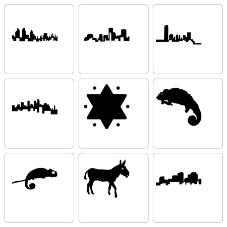 Set Of 9 simple editable icons such as louisiana, donkey, chameleon, star of david, minnesota, oklahoma, london, can be used for mobile, web