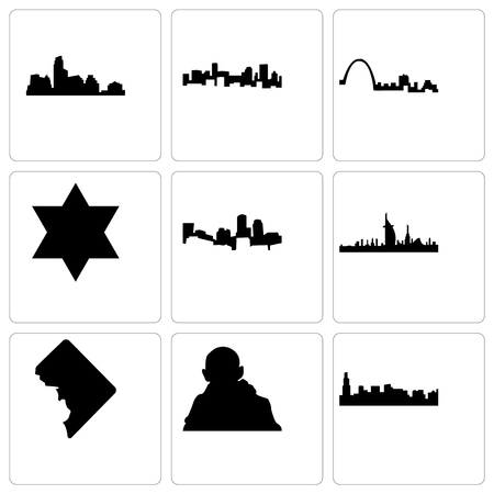 Set Of 9 simple editable icons such as chicago, gandhi, dc, dubai, boston, star of david, st louis, denver, austin, can be used for mobile, web Çizim