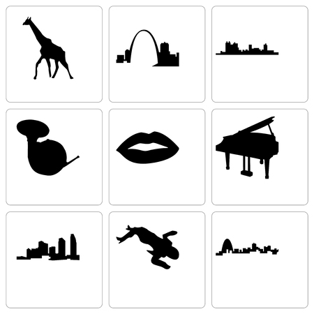 Set Of 9 simple editable icons such as missouri, crime scene body, long island, grand piano, lips, french horn, fort worth, giraffe, can be used for mobile, web