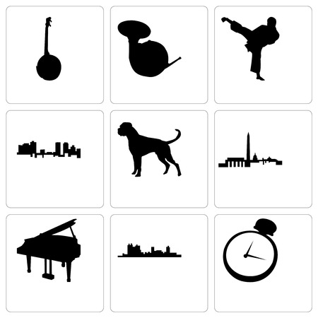 Set Of 9 simple editable icons such as pocket watch, fort worth, grand piano, dc, boxer dog, karate kick, french horn, banjo, can be used for mobile, web