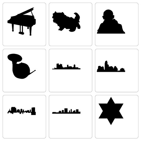 Set Of 9 simple editable icons such as star of david, south carolina, austin, fort worth, french horn, gandhi, shih tzu, grand piano, can be used for mobile, web Illustration