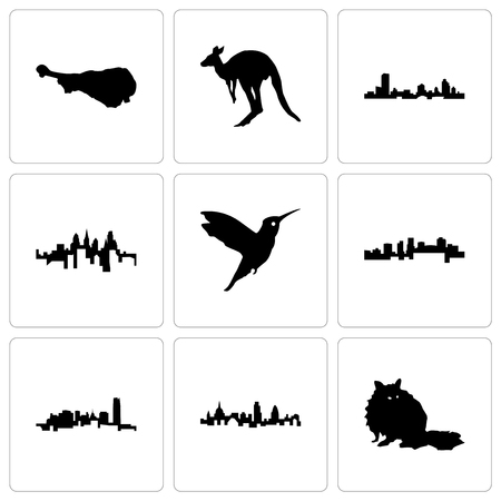 Set Of 9 simple editable icons such as raccoon, london, oklahoma, arkansas, hummingbird, pennsylvania state, wisconsin, kangaroo, turkey leg, can be used for mobile, web