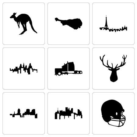Set Of 9 simple editable icons such as football helmet, pennsylvania state, elk head, semi truck, paris, turkey leg, kangaroo, can be used for mobile, web