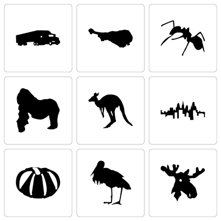 Set Of 9 simple editable icons such as moose head, stork, pumpkin, pennsylvania state, kangaroo, gorilla, ant, turkey leg, semi truck, can be used for mobile, web