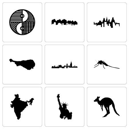 Set Of 9 simple editable icons such as kangaroo, statue of liberty, india, mosquito, alabama, turkey leg, pennsylvania state, utah, yin yang, can be used for mobile, web