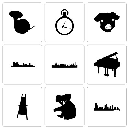 Set Of 9 simple editable icons such as austin, koala, painter easel, grand piano, chicago, fort worth, pig face, pocket watch, french horn, can be used for mobile, web Foto de archivo - 102255385