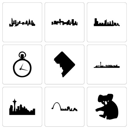 Set Of 9 simple editable icons such as koala, st louis, seattle, las vegas, dc, pocket watch, austin, denver, charlotte, can be used for mobile, web