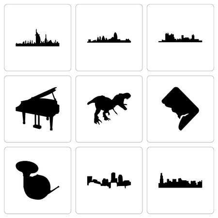 Set Of 9 simple editable icons such as chicago, boston, french horn, dc, t rex, grand piano, fort worth, cincinnati, dubai, can be used for mobile, web Illustration