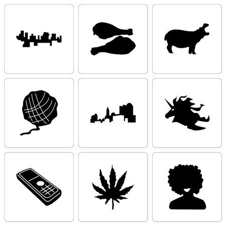 Set Of 9 simple editable icons such as afro, marijuana leaf, cell phone, unicorn head, ohio, yarn ball, hippo, turkey leg, haiti, can be used for mobile, web
