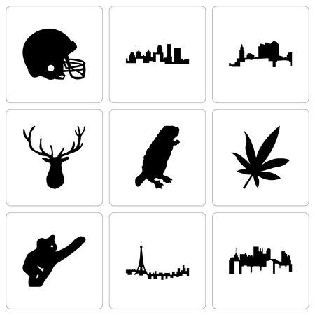 Set Of 9 simple editable icons such as pennsylvania state, paris, koala, marijuana leaf, beaver, elk head, ohio, kentucky football helmet, can be used for mobile, web