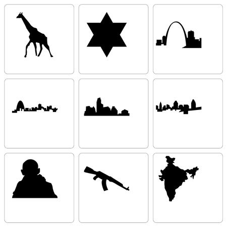 Set Of 9 simple editable icons such as india map, ak47, gandhi, cincinnati, austin, missouri, star of david, giraffe, can be used for mobile, web