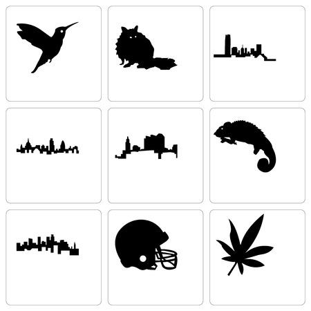 Set Of 9 simple editable icons such as marijuana leaf, football helmet, minnesota, chameleon, ohio, london, oklahoma, raccoon, hummingbird, can be used for mobile, web