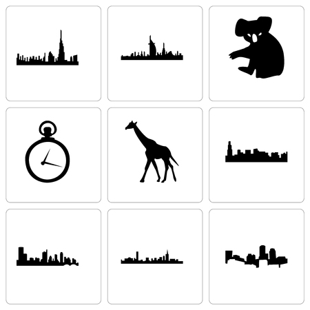 Set Of 9 simple editable icons such as boston, austin, chicago, giraffe, pocket watch, koala, dubai, can be used for mobile, web