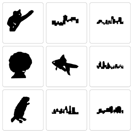 Set Of 9 simple editable icons such as louisiana, kentucky state, beaver, london, goldfish, afro, montana, koala, can be used for mobile, web