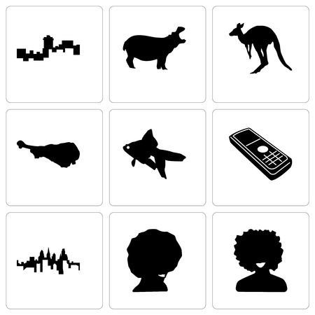 Set Of 9 simple editable icons such as afro, pennsylvania state, cell phone, goldfish, turkey leg, kangaroo, hippo, montana, can be used for mobile, web
