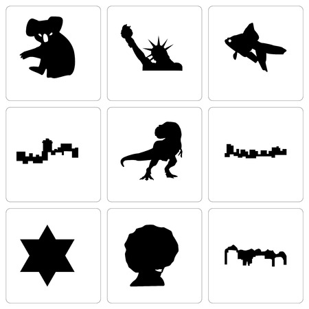 Set Of 9 simple editable icons such as utah, afro, star of david, jamaica, t rex, montana, goldfish, statue liberty, koala, can be used for mobile, web 向量圖像