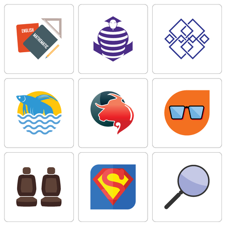 Set Of 9 simple editable icons such as focus group, s, car seat, nerd glasses, taurus professional, betta fish, generic, purple cobras, homework, can be used for mobile, web Illusztráció
